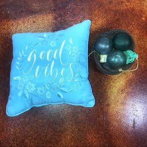 Embroidered Good Vibes blue accent pillow